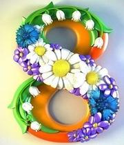 Форма силиконовая 8 Марта в ромашках 3D Люкс