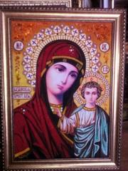 Иконы,  картины,  портреты из янтаря